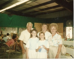 In the old 4-H Building at the fair. Janelle and I just gave our sewing demonstration. (Pop-Pop Bob, Janelle, Christy, Mom-Mom Ruth and Mom-Mom Ann)