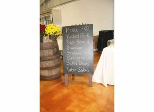 Whiskey Barrel and Chalkboard